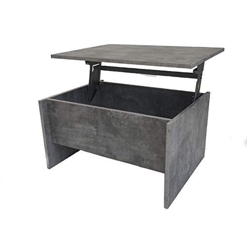 Möbel SD Couchtisch Wohnzimmertisch höhenverstellbar (James klein) Beton