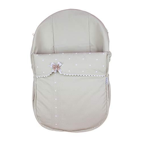 Rosy Fuentes - Saco de Capazo Grupo 0-10 x 50 x 60 cm - Color Camel - Poliéster y Algodón - Equipado para ser Ajustado - Saco Universal para Silla de Bebé Grupo 0