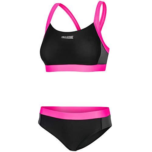 Aqua Speed Damen Sport Bikini Set | Bademode Zweiteiler für Frauen | Two Piece Swimsuit | Womens Swimwear | Beachvolleyball | Swimming Pool | Schwimmen | Schwarz-Grau-Rosa, Gr. 36 | Naomi