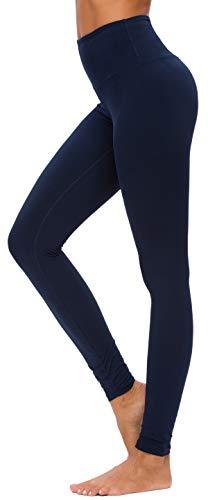 Custer's Night High Waist Power Flex Tummy Control Leggings for Yoga Navy Blue XL