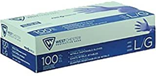 Westchester 2905-L Posi-Shield Powder Free Gloves Blue Nitrile, Large, 100 Pack