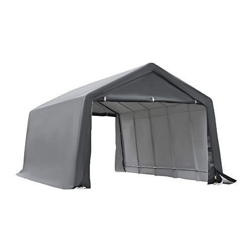 Outsunny Tente Garage carport dim. 6L x 3,6l x 2,75H m Acier galvanisé Robuste PE Haute densité 195 g/m² imperméable Anti-UV Blanc Gris