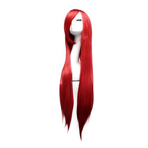 100cm Cosplay Lange Gerade Perücke Voll Wig (Rot)