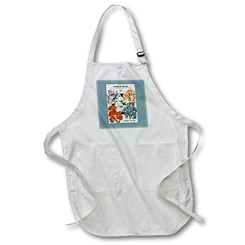 3dRose apr_170820_1 Sweet Peas Cuthbertson Floribunda Mixed Colors Full Length Apron with Pouch Pockets, 22 by 30-Inch, White, with Pockets