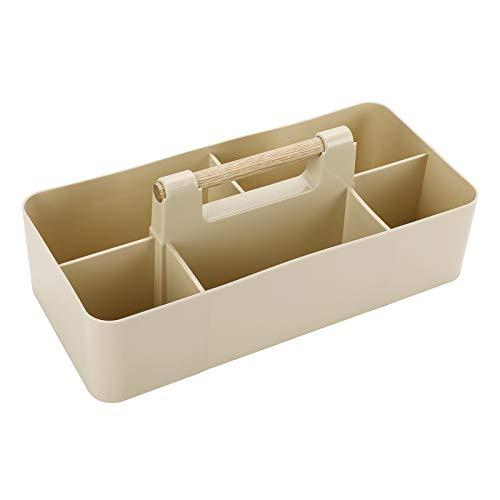BSTKEY Organizador de escritorio apilable con mango de madera, caja de almacenamiento rectangular de 5 compartimentos (Khaki)