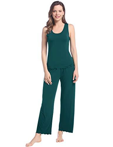 Joyaria Damen Pyjama Set Weich Bambus Schlafanzug Ärmellos Shirt und Lang Schlafanzughose(Grün,Größe S)