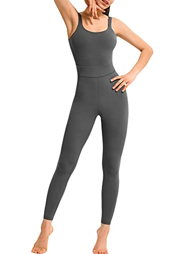 ADYD Mono de yoga de color sólido de una pieza de cintura alta acolchado largo Sling mono, gris, L
