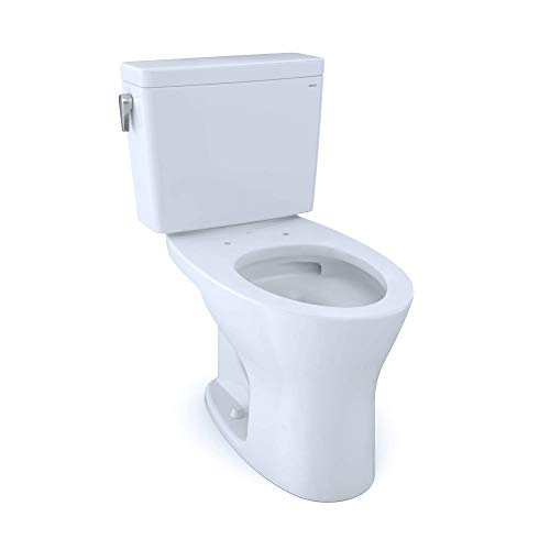 TOTO CST746CUMG#01 Drake 1G Two-Piece Elongated Dual Flush 1.0 and 0.8 GPF DYNAMAX TORNADO FLUSH Toilet with CEFIONTECT, Cotton White