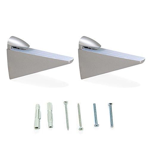 Emuca 4009225 Lote de 2 soportes mod. Halcon para estante de madera o cristal de espesor 8-40mm acabado pintado aluminio