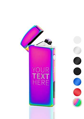 TESLA Lighter T14 Regenbogen Lichtbogen Feuerzeug mit Wunschtext Text-Gravur Text selber gestalten personalisierbar USB Aufladbar Elektro Sturmfest Plasma Doppel-Lichtbogen