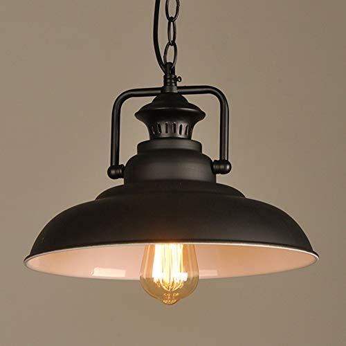 ZRSZ Retro Kronleuchter, Ländliche Kreative Schwarz Design Schmiedeeisen Runde Lampenschirm Deckenlampe Vintage Industrie Stil Deko Lampen [Energieklasse A+]