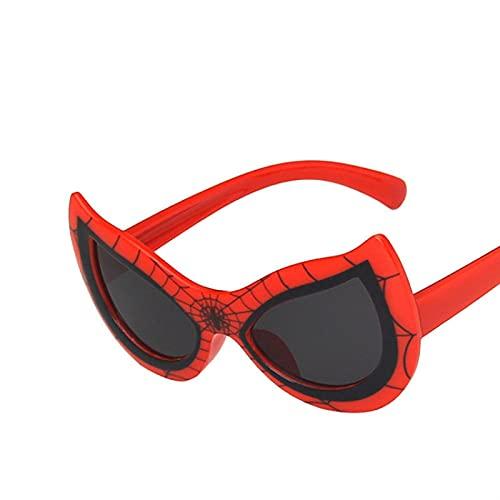 Gafas de sol de moda para niños con diseño de araña y telaraña, color rojo