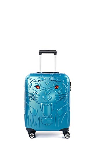 CCS Tiger Suitcase Durable 8 spinner wheels Travel Luggage Bag Trolley Lightweight Hardcase ABS (S, Blue)