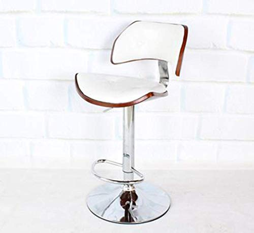 O&YQ Lässiger Sitzstuhl Massivholz Bar Sessellift Front Desk Hochsessel Stuhl Kreativer Stuhl Drehbarer BarhockerWeiß
