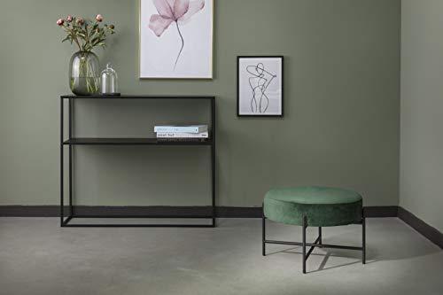 LIFA LIVING Puf Taburete de Terciopelo Verde, Asiento puf para Interior, Pouf Redondo, Terciopelo y Metal, Ø55 x 35cm