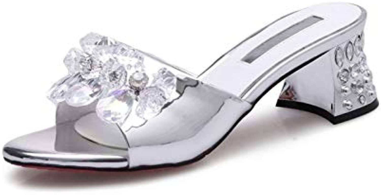 LFDGGX Crystal Heel Summer sautope Plus Dimensione Casual Casual Leather donna Tac  Alti Moda argengiocattolo Ladies Pantofole