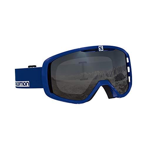 Salomon Unisex Aksium Access Skibrille, geeignet für Brillenträger, verschiedenste Wetterverhältnisse, Silberfarbene Scheibe mit Flash-Beschichtung (auswechselbar), blau (Sodalite), L40515500