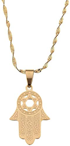 LBBYMX Co.,ltd Necklace Stainless Steel Hamsa Hand Pendant Necklace Magen David Gold Color Islam Arab Jewish Star Palm Shaped Jewelry Necklace