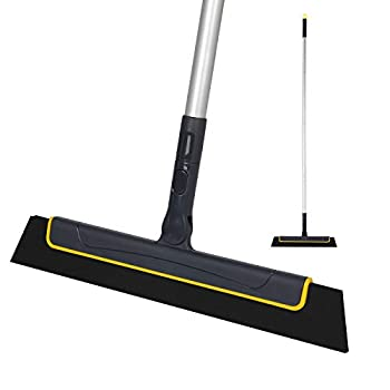 Yocada Floor Squeegee Broom Perfect for Shower Bathroom Kitchen Home Tile Pet Hair Fur Floor Marble Glass Window Water Foam Cleaning Long Adjustable Removable Handle Anti-Static Household 51in Pole