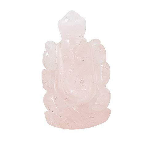 GEMHUB Ganesha - Estatua de piedra natural de cuarzo rosa de 43,50 quilates Ganesha para decoración