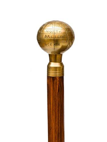 Caña de globo de tierra bastón de madera bastón mango de oro ⭐