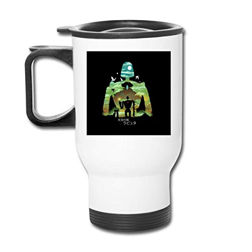 gugululu Laputa Castle In The Sky Robot Silhouette Stainless Tumbler Double Wall Vacuum Kaffeebecher with Splash Proof Lid for Hot & Cold Drinks