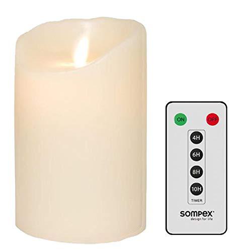 sompex Flame LED - Echtwachs Kerze Classic elfenbein MIT FERNBEDIENUNG! Bundle inklusive Fernbedienung!