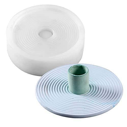 Molde de silicona para candelabros de fabricación de bricolaje redondo candelabro mesa de centro de mesa de centro de mesa para chimenea, sala de estar o comedor mesa