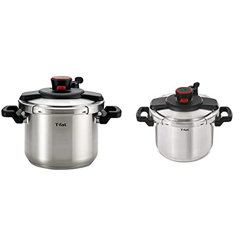 T-fal P45007 Clipso Stainless Steel Dishwasher Safe PTFE PFOA 6.3-Quart, Silver & Clipso Stainless Steel Dishwasher Safe PTFE PFOA and Cadmium Free 12-PSI Pressure Cooker Cookware, 8-Quart, Silver