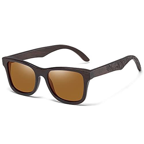 NIUBKLAS Gafas de sol de bambú de lujo de diseño para mujer, gafas de sol hechas a mano de madera marrón originales para hombre S1610BN marrón