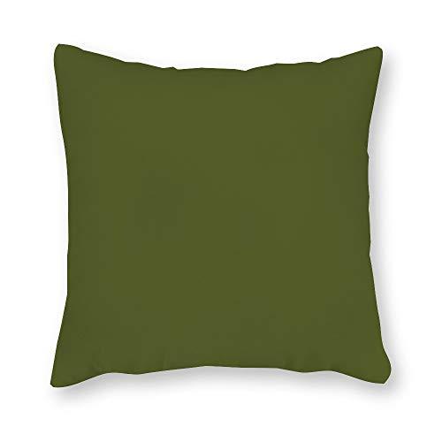 JamirtyRoy1 - Funda de almohada, color verde negruzco, funda de cojín, 12 x 12 pulgadas, funda de almohada para sofá dormitorio coche, lona, Verde oliva, 18 x 18 Inches(45*45cm)