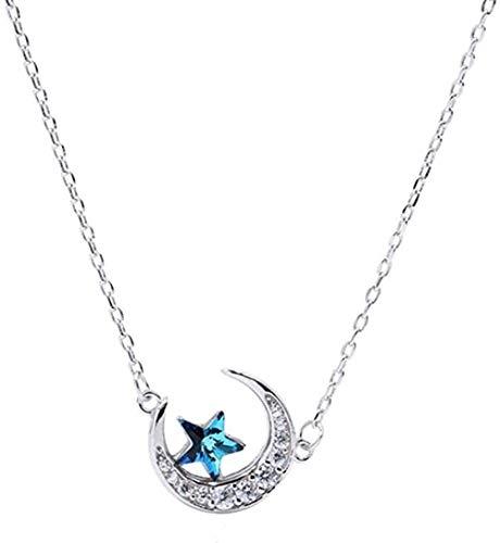 Yaoliangliang Collar de Verano Vintage Azul Luna Estrella Collares para Mujer Regalo señora Collar Collar joyería
