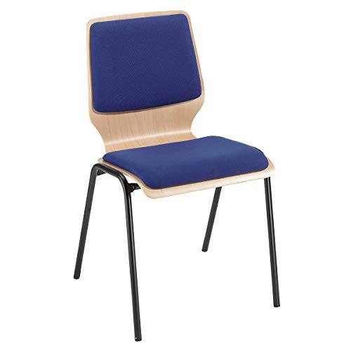 Holz-Schalenstuhl, gepolstert - VE 4 Stk, Gestell beschichtet - Polster royalblau