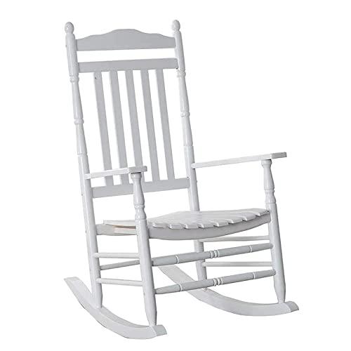 Mecedora Biały Duży Drewniany Bujak Na Ganku, Bardzo Szeroki Ogród Na Zewnątrz Fotele Bujane Dla Dorosłych, Listwa Z Wysokim Oparciem Relax Krzesło Leżakowe, Wsparcie 380lbs
