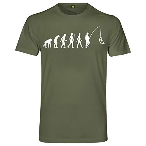 absenda Evolution Angeln T-Shirt | Angler | Angel | Fischen | Fisch | Hecht | Zander Militär Grün XL