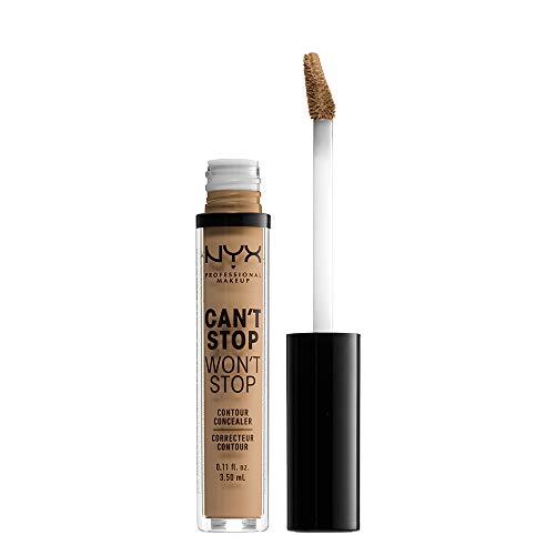 NYX Professional Makeup Can't Stop Won't Stop Contour Concealer - wasserfester flüssiger Abdeckstift, Kaschieren & Highlighten, 3,5 ml, Caramel 15