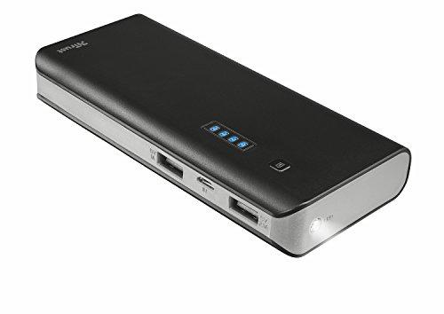 Trust Mobile Primo Powerbank, 10.000 mAh met 2 USB Poorten (voor Tablet & Smartphone), Zwart