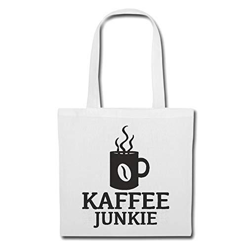 Tasche Umhängetasche Kaffee Junkie - Freitag - Montag - Fun Shirt - Party Einkaufstasche Schulbeutel Turnbeutel in Weiß