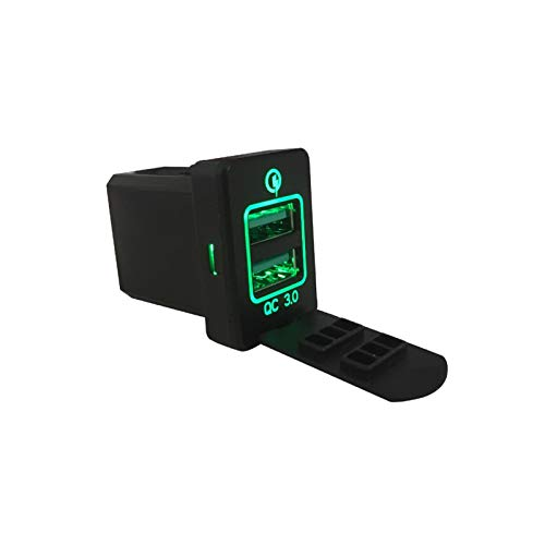 ZHANGJIN Coche 3 Cargador rápido de los Puertos duales USB de Carga Interruptor de Ajuste del zócalo for Mitsubishi Outlander 3 Xpander 2017 2.018 Eclipse Cruz Mirage PHEV (Color : Green)