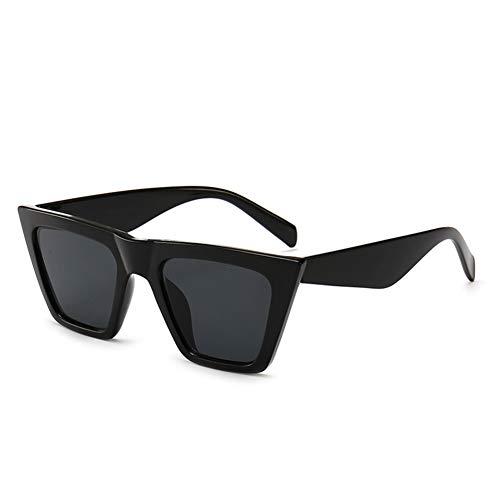 SORVINO - Gafas de sol vintage de gran tamaño, estilo retro, con montura cuadrada para hombres y mujeres, (Negro/Gris), Small