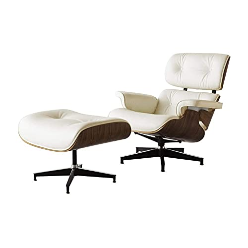 CN Cover Lounge chair with Ottoman style, plywood wood with top grain leather, heavy-duty base support, classic design, modern armchair, light walnut + ivory skin