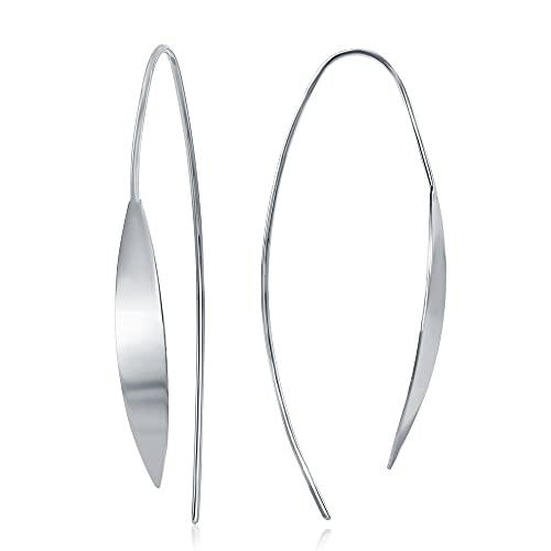 iJewelry2 Pendientes de plata de ley curvados con barra plana