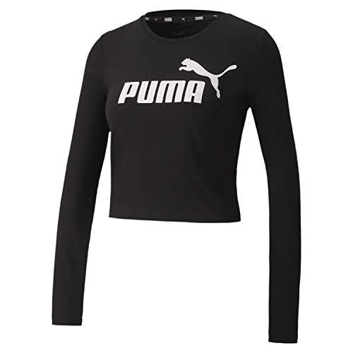 PUMA Damen ESS+ Logo LS Fitted Tee T-Shirt, Black, M