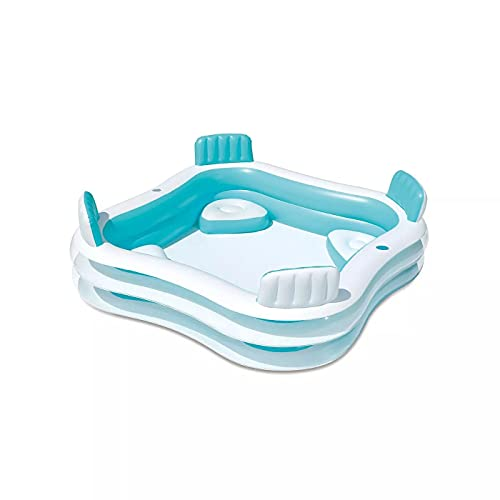 Family Full-Size Inflatable Swimming Pool Ground Swimming Pool Inflatable Swimming Pool Built-in 4 Seats, with backrest and 2 Cup Holders, White/Blue