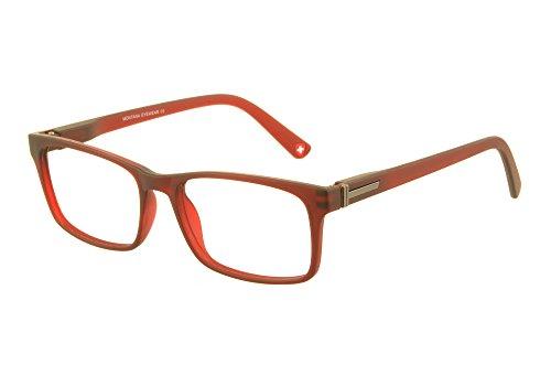 Edison & King - Modieuze leesbril in trendy stijl - Met zwarte kunstleren brillenkoker - Diverse sterktes (+2,00 dpt, Rood)