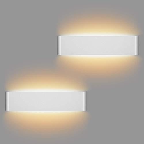 2 Pcs Apliques Interior Pared 12W Moderna Apliques De Pared Blanco Cálido 3000K