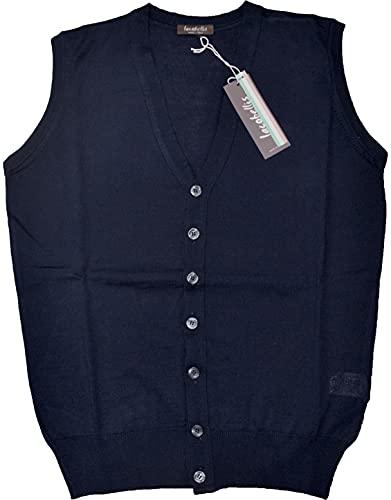 Iacobellis Maglione Uomo Pullover Gilet Aperto con Bottoni Misto Lana Merinos Extrafine Made in Italy 5XL Blu