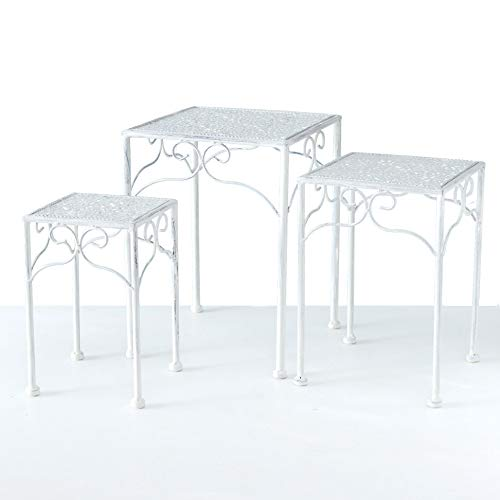 Spetebo Metall Pflanzenständer weiß - 3er Set - Blumentopfständer Blumenhocker Hocker Beistelltisch eckig