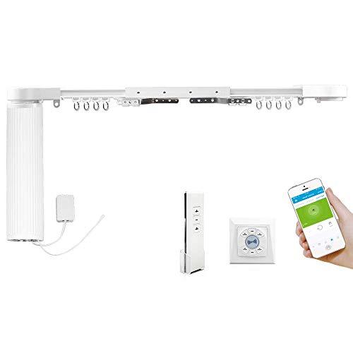 Zemismart SmartThings Z-Wave Elektrische gordijnrails, geluidloos design, met afstandsbediening, smart home gemotoriseerde pak met gordijnspoor en dubbele afstandsbediening