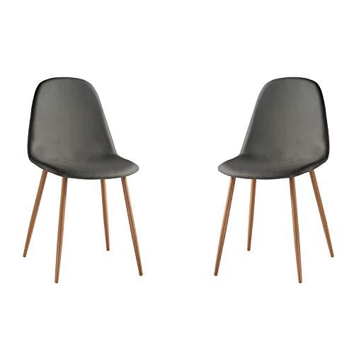 Adec - Craft, Pack de 2 sillas de Comedor, Silla de Salon o Cocina, Acabado en Simil Piel Gris y Pat